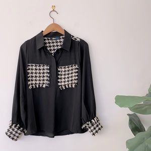 Black Sheer Blouse With Pattern And Fringe Detail